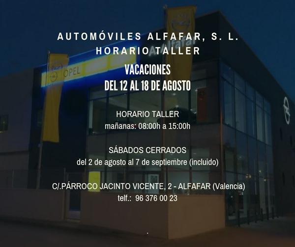 horario verano automoviles alfafar taller